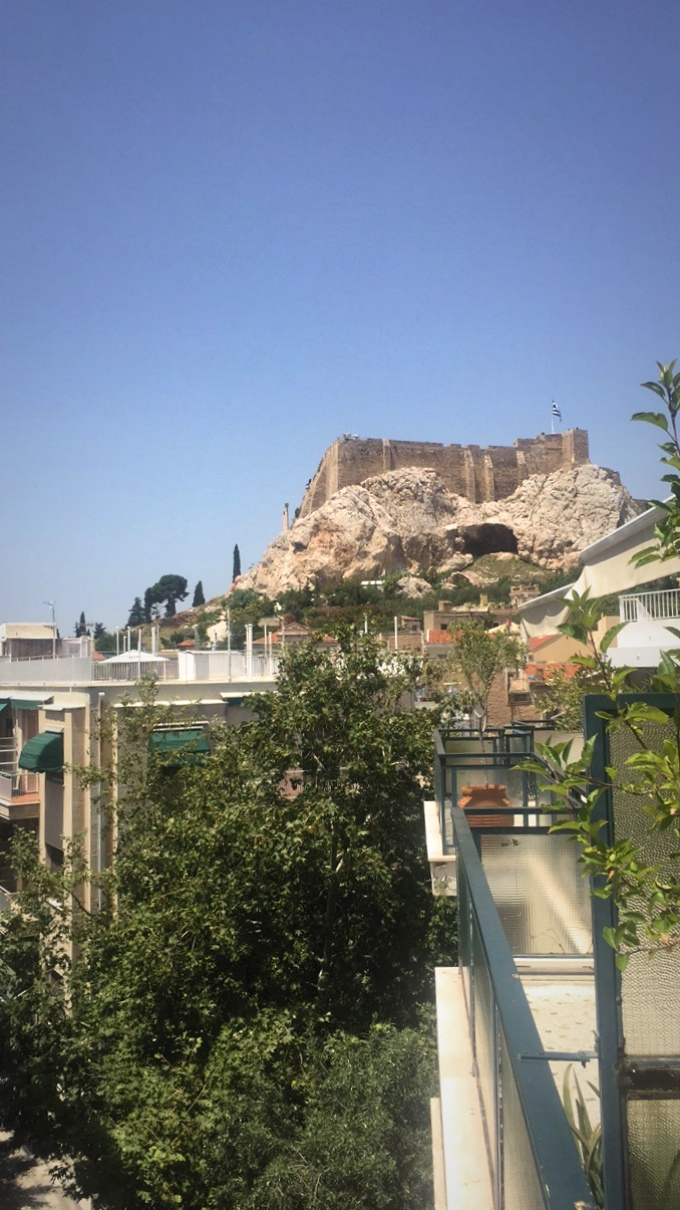 View of the Acropolis from the balcony of my room