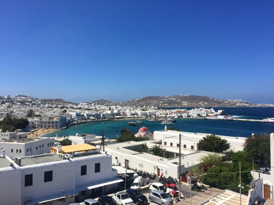 View from our Balcony of Mykonos Town.